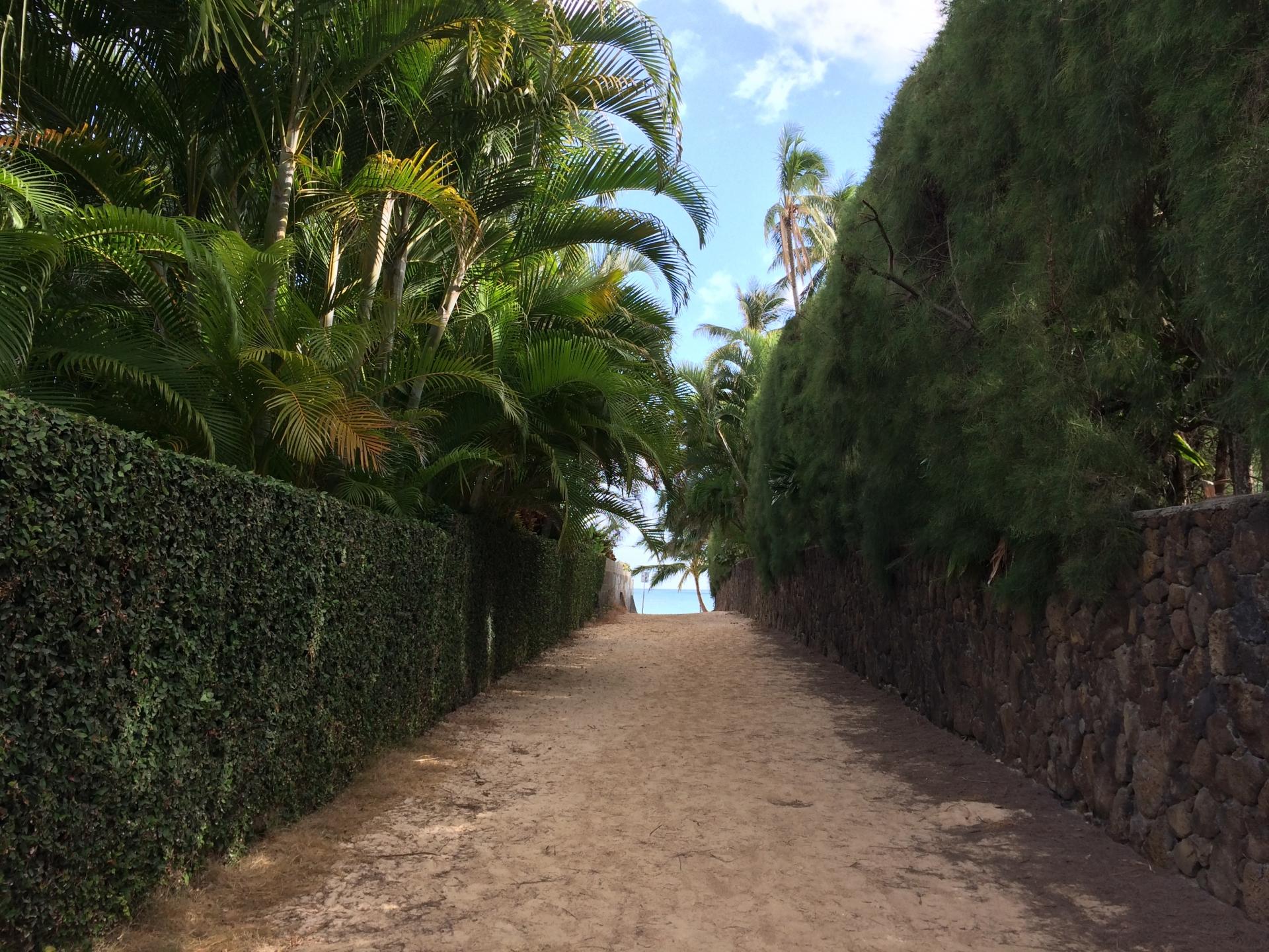 住宅の脇を通るとラニカイビーチ