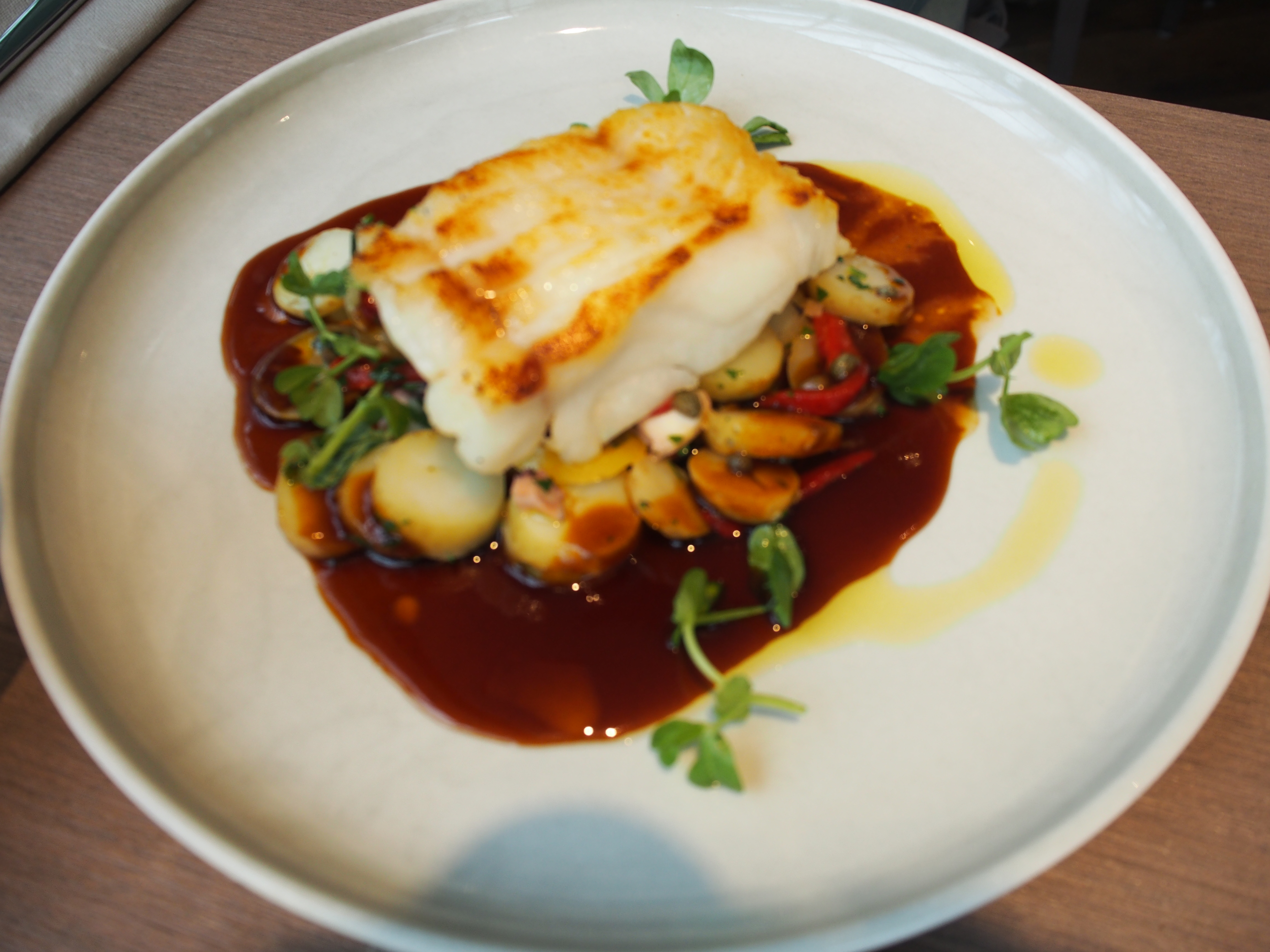Peterhead cod confit octopus, new potato & preserved lemon salad £24.00